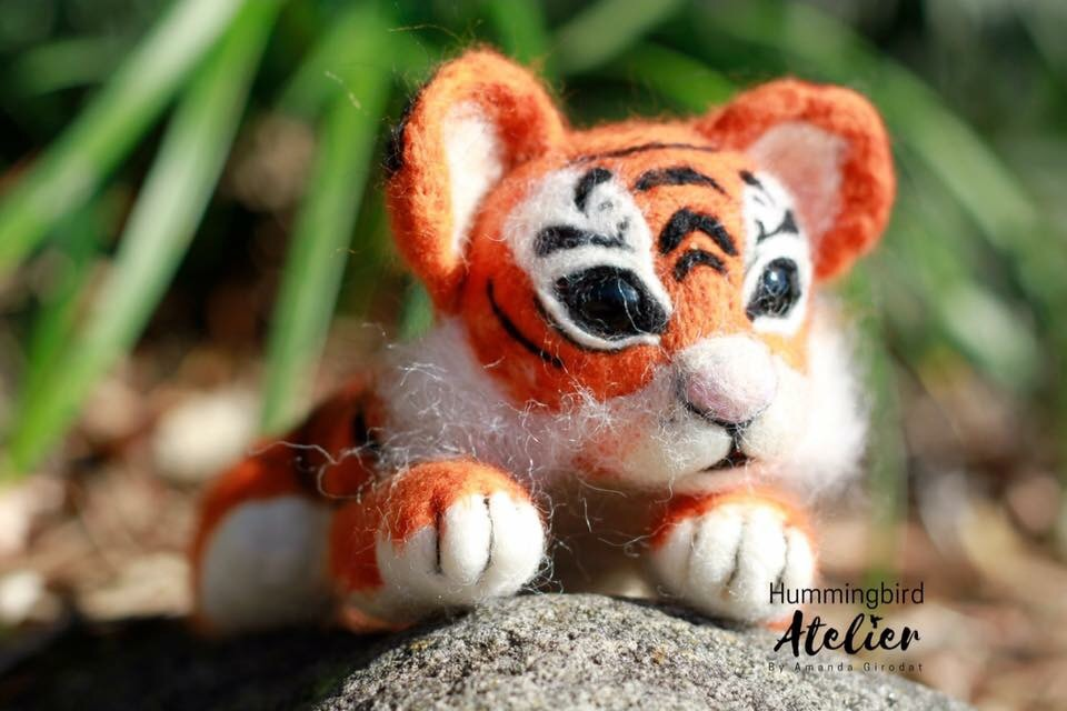 Needle felted tiger
